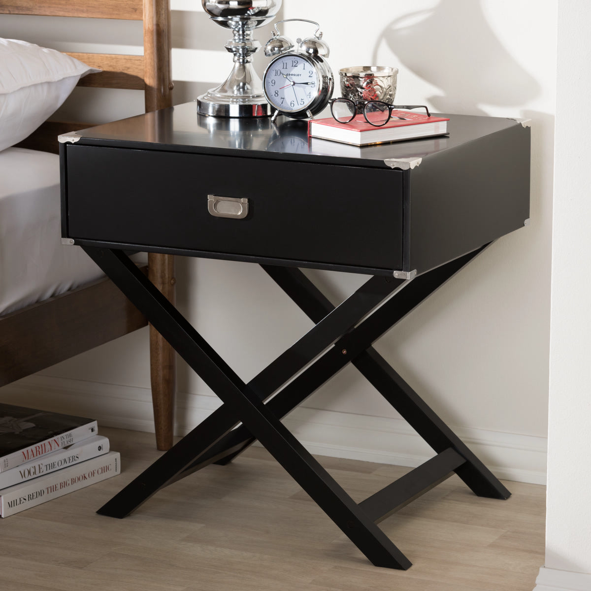 Baxton Studio Curtice Modern And Contemporary Black 1-Drawer Wooden Bedside Table Baxton Studio-nightstands-Minimal And Modern - 1