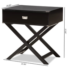 Baxton Studio Curtice Modern And Contemporary Black 1-Drawer Wooden Bedside Table Baxton Studio-nightstands-Minimal And Modern - 8