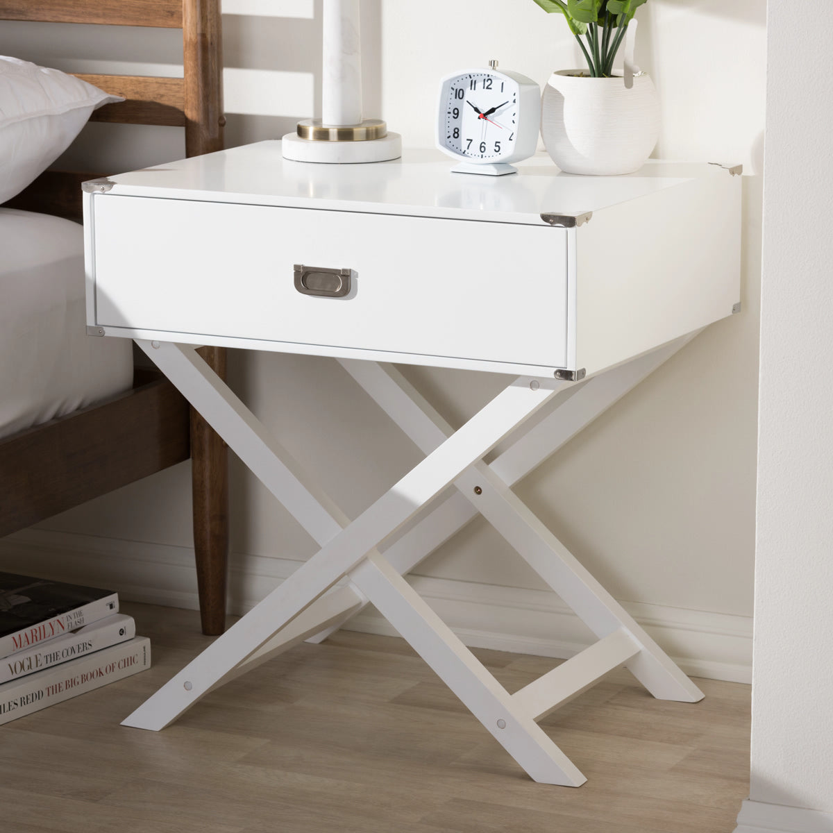 Baxton Studio Curtice Modern And Contemporary White 1-Drawer Wooden Bedside Table Baxton Studio-nightstands-Minimal And Modern - 1