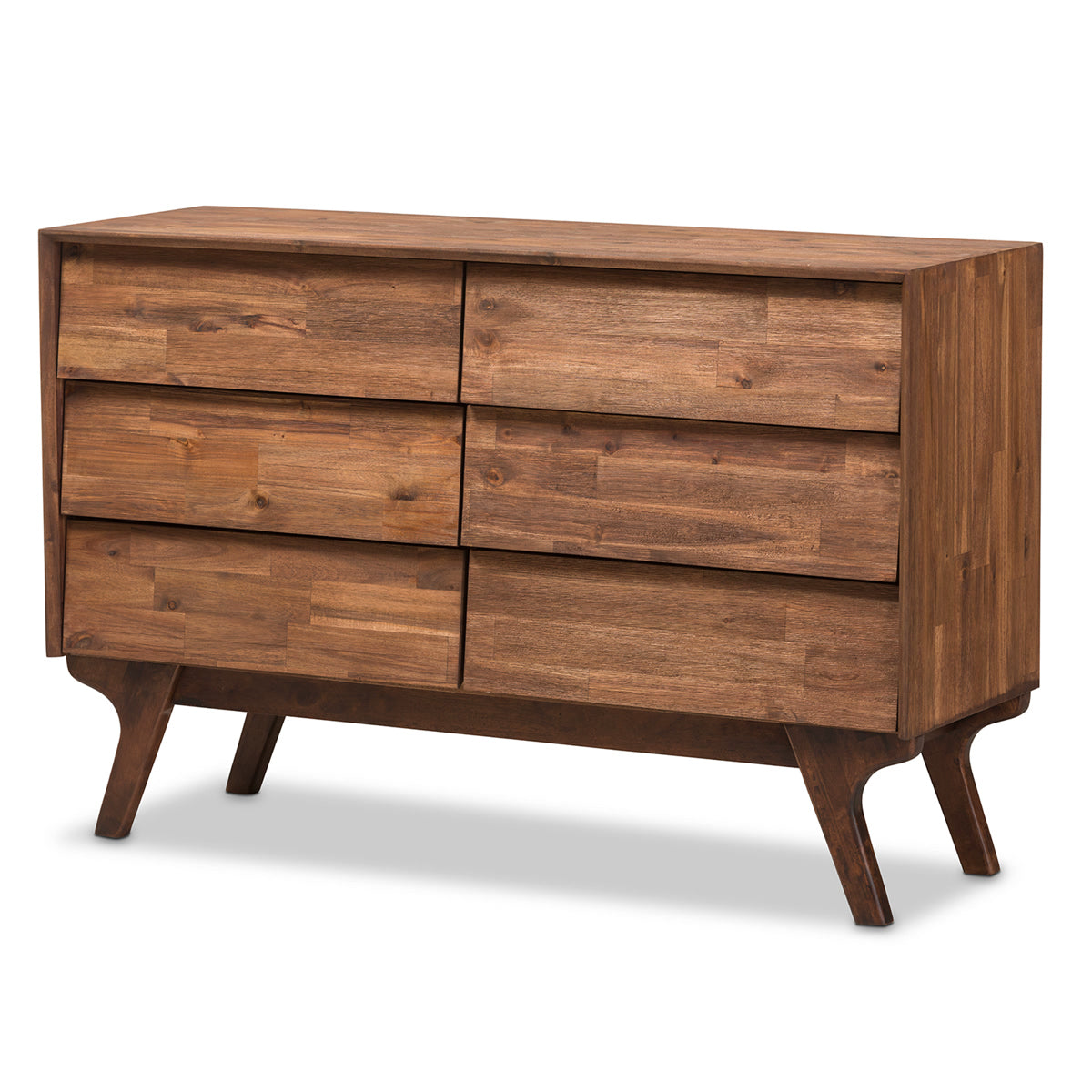 Baxton Studio Sierra Mid-Century Modern Brown Wood 6-Drawer Dresser Baxton Studio-Dresser-Minimal And Modern - 1
