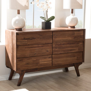 Baxton Studio Sierra Mid-Century Modern Brown Wood 6-Drawer Dresser Baxton Studio-Dresser-Minimal And Modern - 6