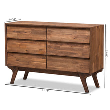 Baxton Studio Sierra Mid-Century Modern Brown Wood 6-Drawer Dresser Baxton Studio-Dresser-Minimal And Modern - 8