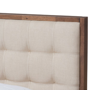 Baxton Studio Soloman Mid-Century Modern Light Beige Fabric and Walnut Brown Finished Wood Queen Size Platform Bed Baxton Studio-beds-Minimal And Modern - 4