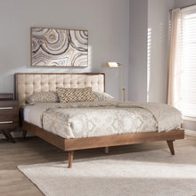 Baxton Studio Soloman Mid-Century Modern Light Beige Fabric and Walnut Brown Finished Wood Queen Size Platform Bed Baxton Studio-beds-Minimal And Modern - 7