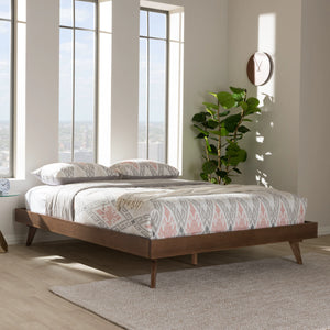 Baxton Studio Jacob Mid-Century Modern Walnut Brown Finished Solid Wood Full Size Bed Frame Baxton Studio-beds-Minimal And Modern - 5