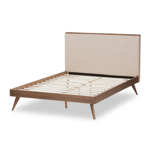 Baxton Studio Bella Mid-Century Modern Light Beige Fabric and Walnut Brown Finished Wood Queen Size Platform Bed Baxton Studio-beds-Minimal And Modern - 3