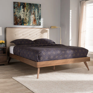 Baxton Studio Bella Mid-Century Modern Light Beige Fabric and Walnut Brown Finished Wood King Size Platform Bed Baxton Studio-beds-Minimal And Modern - 7