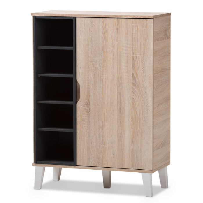 Baxton Studio Adelina Mid-Century Modern 1-door Oak and Grey Wood Shoe Cabinet Baxton Studio--Minimal And Modern - 2