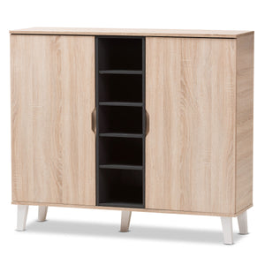 Baxton Studio Adelina Mid-Century Modern 2-door Oak and Grey Wood Shoe Cabinet Baxton Studio--Minimal And Modern - 2