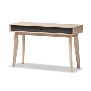 Baxton Studio Fella Mid-Century Modern 2-Drawer Oak and Grey Wood Study Desk Baxton Studio-Desks-Minimal And Modern - 2