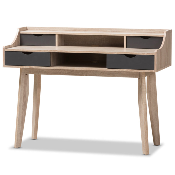 Baxton Studio Fella Mid-Century Modern 4-Drawer Oak and Grey Wood Study Desk Baxton Studio-Desks-Minimal And Modern - 2