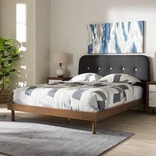 Baxton Studio Sadie Mid-Century Modern Dark Grey Fabric and Walnut Brown Finished Wood Full Size Platform Bed Baxton Studio-beds-Minimal And Modern - 9