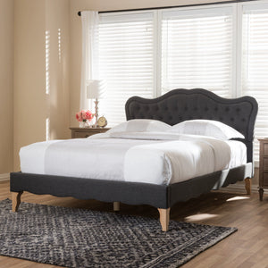 Baxton Studio Alicia French Modern Classic Dark Grey Fabric Full Size Platform Bed Baxton Studio-beds-Minimal And Modern - 9