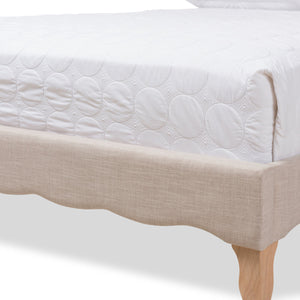 Baxton Studio Alicia French Modern Classic Beige Fabric Queen Size Platform Bed Baxton Studio-beds-Minimal And Modern - 7