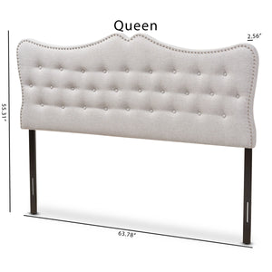 Baxton Studio Emma Modern and Contemporary Greyish Beige Fabric Queen Size Headboard Baxton Studio-Headboards-Minimal And Modern - 6
