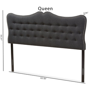 Baxton Studio Emma Modern and Contemporary Dark Grey Fabric Queen Size Headboard Baxton Studio-Headboards-Minimal And Modern - 6