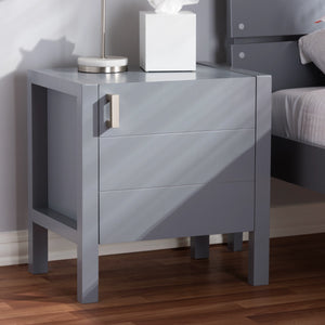 Baxton Studio Mandel Modern and Contemporary Grey Wood Nightstand Baxton Studio-nightstands-Minimal And Modern - 7