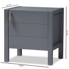 Baxton Studio Mandel Modern and Contemporary Grey Wood Nightstand Baxton Studio-nightstands-Minimal And Modern - 9