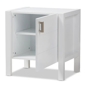 Baxton Studio Mandel Modern and Contemporary White Wood Nightstand Baxton Studio-nightstands-Minimal And Modern - 2