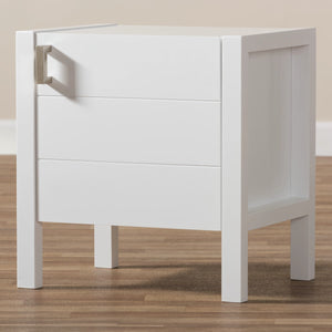 Baxton Studio Mandel Modern and Contemporary White Wood Nightstand Baxton Studio-nightstands-Minimal And Modern - 8