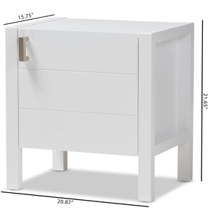 Baxton Studio Mandel Modern and Contemporary White Wood Nightstand Baxton Studio-nightstands-Minimal And Modern - 9