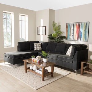 Baxton Studio Richie Modern And Contemporary Two-Tone Dark Grey And Steel 2-Piece Sofa Sectional Baxton Studio-sectionals-Minimal And Modern - 1