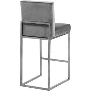 Meridian Furniture Giselle Grey Velvet Stool-Minimal & Modern