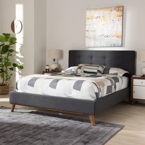 Baxton Studio Valencia Mid-Century Modern Dark Grey Fabric Queen Size Platform Bed Baxton Studio-beds-Minimal And Modern - 9