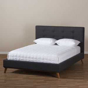 Baxton Studio Valencia Mid-Century Modern Dark Grey Fabric Queen Size Platform Bed Baxton Studio-beds-Minimal And Modern - 10
