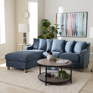 Baxton Studio Winslow Modern and Contemporary Blue Fabric Upholstered 2-Piece Left Facing Sectional Baxton Studio-sofas-Minimal And Modern - 4