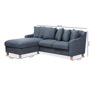 Baxton Studio Winslow Modern and Contemporary Blue Fabric Upholstered 2-Piece Left Facing Sectional Baxton Studio-sofas-Minimal And Modern - 6