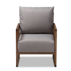 Baxton Studio Rondel Mid-Century Modern Grey Fabric Upholstered Walnut Wood Armchair Baxton Studio-chairs-Minimal And Modern - 2