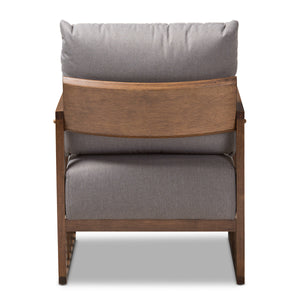 Baxton Studio Rondel Mid-Century Modern Grey Fabric Upholstered Walnut Wood Armchair Baxton Studio-chairs-Minimal And Modern - 4