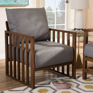 Baxton Studio Rondel Mid-Century Modern Grey Fabric Upholstered Walnut Wood Armchair Baxton Studio-chairs-Minimal And Modern - 6
