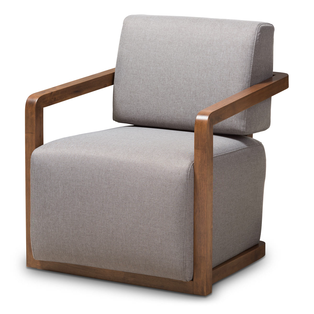 Baxton Studio Sawyer Mid-Century Modern Grey Fabric Upholstered Walnut Wood Armchair Baxton Studio-chairs-Minimal And Modern - 1
