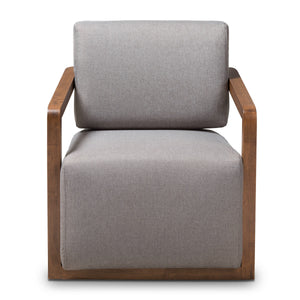Baxton Studio Sawyer Mid-Century Modern Grey Fabric Upholstered Walnut Wood Armchair Baxton Studio-chairs-Minimal And Modern - 2