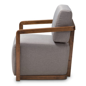 Baxton Studio Sawyer Mid-Century Modern Grey Fabric Upholstered Walnut Wood Armchair Baxton Studio-chairs-Minimal And Modern - 3