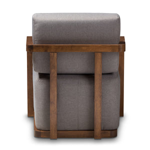 Baxton Studio Sawyer Mid-Century Modern Grey Fabric Upholstered Walnut Wood Armchair Baxton Studio-chairs-Minimal And Modern - 4