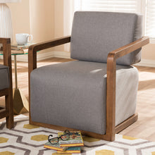 Baxton Studio Sawyer Mid-Century Modern Grey Fabric Upholstered Walnut Wood Armchair Baxton Studio-chairs-Minimal And Modern - 6