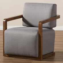 Baxton Studio Sawyer Mid-Century Modern Grey Fabric Upholstered Walnut Wood Armchair Baxton Studio-chairs-Minimal And Modern - 7