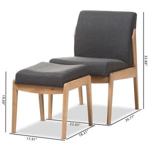 Baxton Studio Wera Mid-Century Retro Modern Dark Grey Fabric Slipper Lounge Chair and Ottoman Set Baxton Studio-0-Minimal And Modern - 2