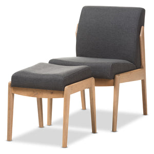 Baxton Studio Wera Mid-Century Retro Modern Dark Grey Fabric Slipper Lounge Chair and Ottoman Set Baxton Studio-0-Minimal And Modern - 1