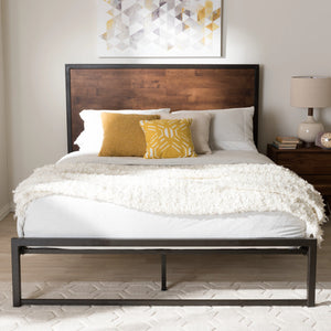 Baxton Studio Santa Rustic Industrial Black Finished Metal Coco Brown Wood Full Size Platform Bed Baxton Studio-Full Bed-Minimal And Modern - 1