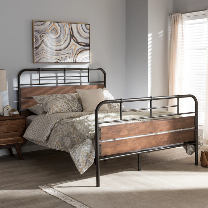 Baxton Studio Monoco Rustic Industrial Black Finished Metal Coco Brown Wood Full Size Platform Bed Baxton Studio-Full Bed-Minimal And Modern - 1