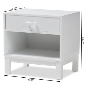 Baxton Studio Deirdre Modern and Contemporary White Wood 1-Drawer Nightstand Baxton Studio-nightstands-Minimal And Modern - 2