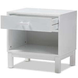 Baxton Studio Deirdre Modern and Contemporary White Wood 1-Drawer Nightstand Baxton Studio-nightstands-Minimal And Modern - 3