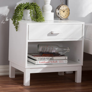 Baxton Studio Deirdre Modern and Contemporary White Wood 1-Drawer Nightstand Baxton Studio-nightstands-Minimal And Modern - 9