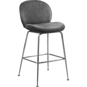 Meridian Furniture Paris Grey Velvet Stool-Minimal & Modern