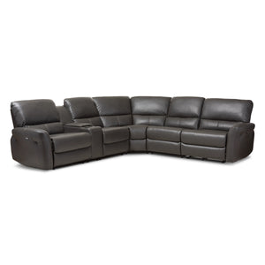 Baxton Studio Amaris Modern and Contemporary Grey Bonded Leather 5-Piece Power Reclining Sectional Sofa with USB Ports Baxton Studio-sofas-Minimal And Modern - 1