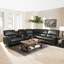 Baxton Studio Amaris Modern and Contemporary Black Bonded Leather 5-Piece Power Reclining Sectional Sofa with USB Ports Baxton Studio-sofas-Minimal And Modern - 2
